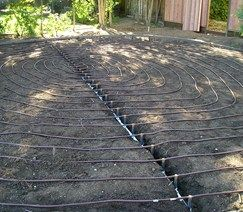 If you're going to have a lawn, sub-surface drip irrigation using Netafim is an excellent way of saving water. Since you lose no water to evaporation, you use only the water you need to irrigate your lawn. Design by Aesthetic Gardens in Mountain View, CA.
