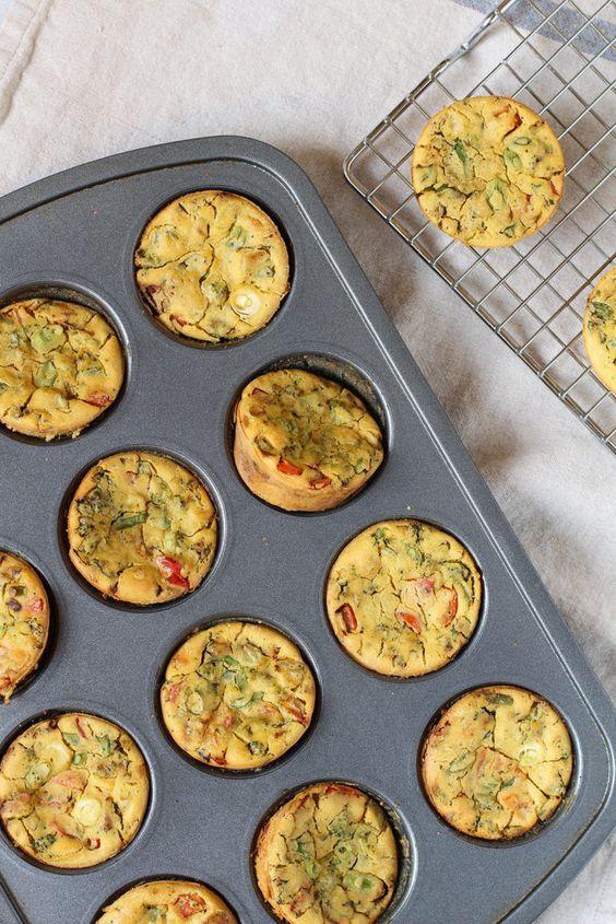 Chickpea Flour Mini Veggie Frittatas - the perfect vegan & gluten free make ahead breakfast for busy weekday mornings