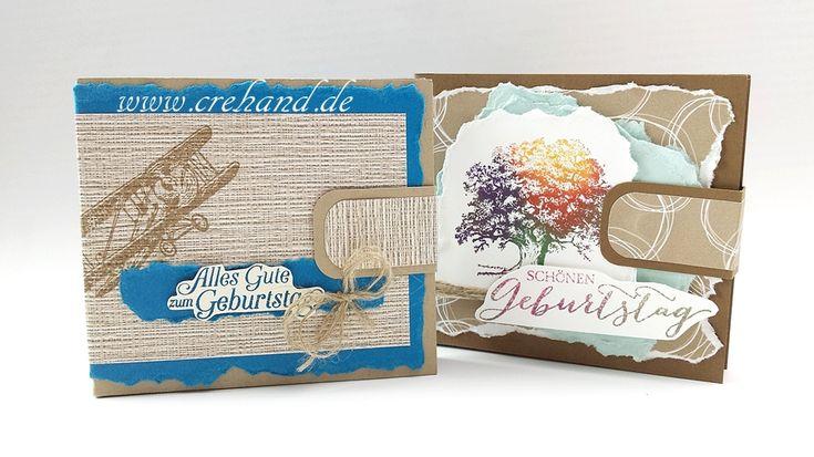 Herrenbrieftasche für ein Geld- oder Gutscheingeschenk. Gestaltet mit der Herbstlaubtechnik. Mit crehand und Stampin' Up! - Videoanleitung