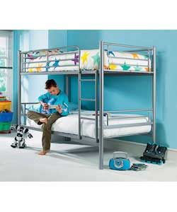 SILVER Metal Shorty Bunk Bed Tubular steel frame with ladder attached to right-hand side.Includes 2 x shorty 26 mattresses. Overall size (W)88, (L)182, (H)139cm. Weight 38kg.Minimum age recommendation 7 years - dependent on the d http://www.comparestoreprices.co.uk/bunk-beds/silver-metal-shorty-bunk-bed.asp