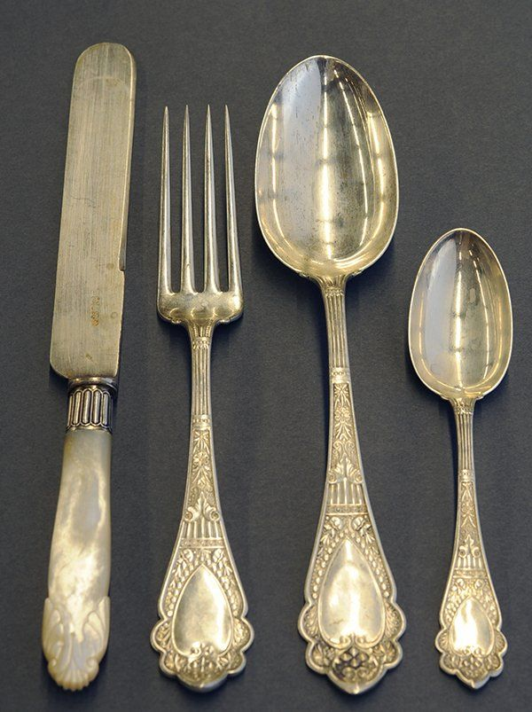 American sterling silver flatware service by Wood u0026 Hughes  Murillo  ... & 258 best Silver Patterns - Obscure and Beautiful images on Pinterest ...