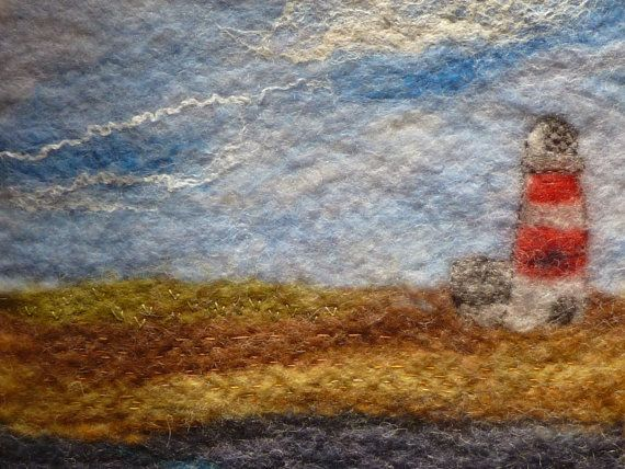 Orford Lighthouse  Wet Felted Wall Hanging.Hand Felted A5 Removeable Journal Notebook Cover. You can follow LittleDeb on Etsy, Folksy, Pinterest, and here: www.facebook.com/...