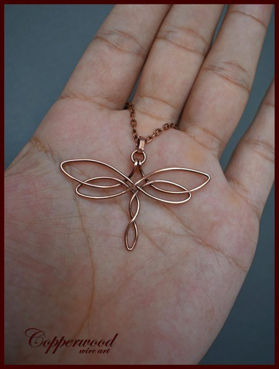 Pendant dragonfly with copper wire, handmade Celtic necklace, wire …   – DIY schmuck