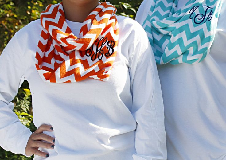 Chevron Infinity Scarf with Circle Monogram - Memento - Personalized Monogrammed Gifts