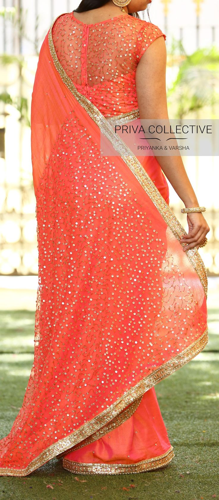 PV 3601 : Pink Princess.Price      : Rs 4750. <br> Look like a modern fairytale princess in this beautiful yet party wear sari. Pink stone studded jute silk sari with sequins patch and sequins  and pearl border.  Unstitched blouse piece : Pink sequins blouse piece as displayed in the pictureFor Order . 29 December 2017