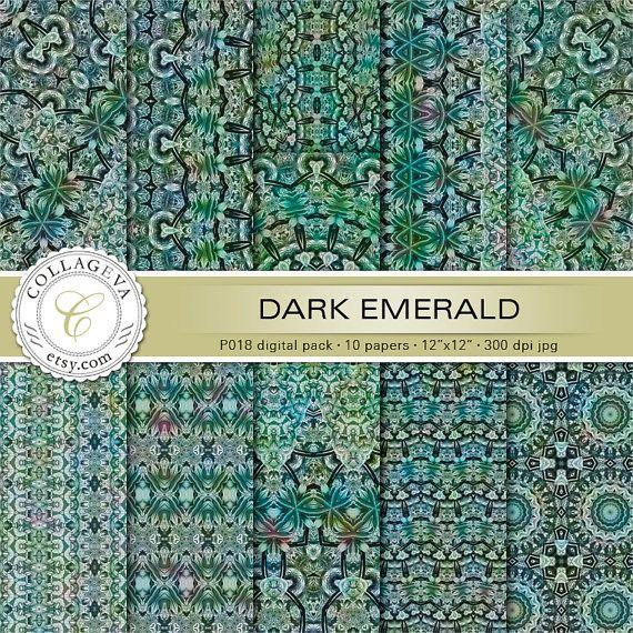 "Dark Emerald (P018) Digital Paper Pack, 10 printable images, 12""x12"", large mandalas kaleidoscopes, green backgrounds, seamless patterns by collageva"
