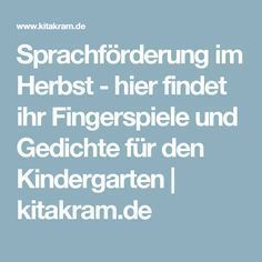 Sprachförderung im Herbst - hier findet ihr Fingerspiele und Gedichte für den…