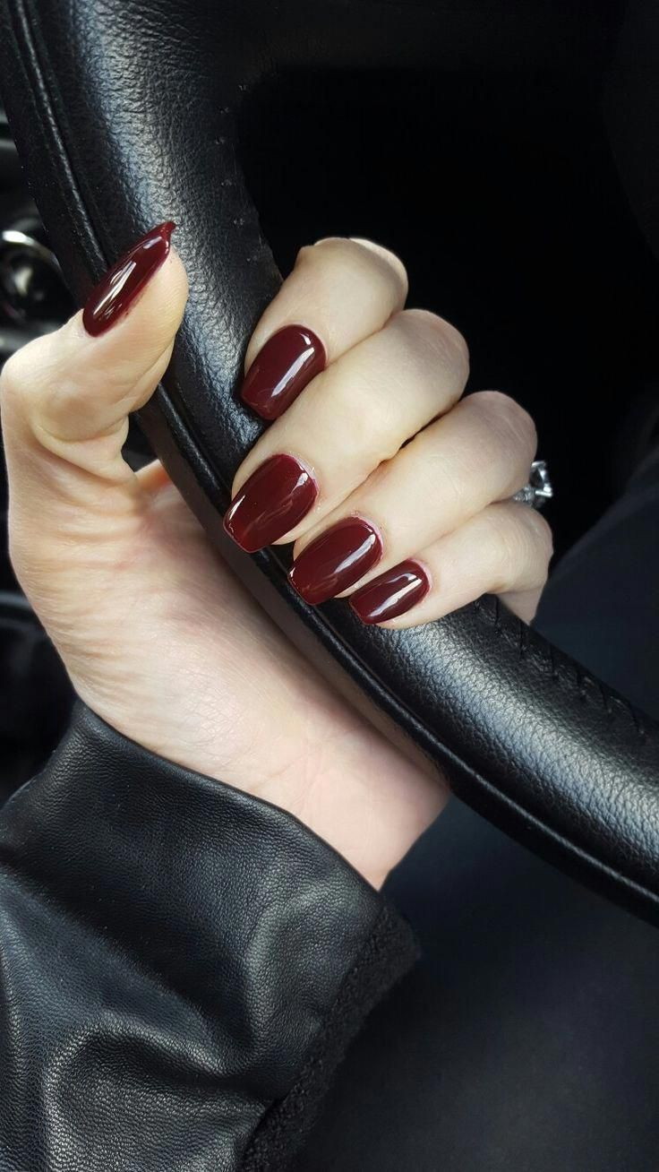 This Dark Red Is Used Products Essie First Base P Klpolish Scorpion Catr Nail Design Ideas Red Shellac Nails Fall Acrylic Nails Dark Acrylic Nails