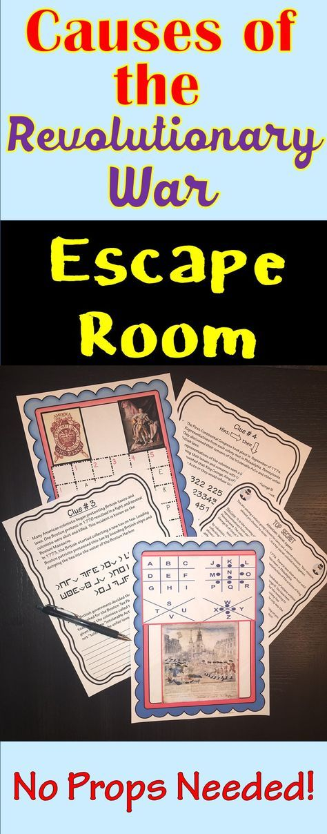 The Causes of the Revolutionary War Escape Room will take students on a secret mission around the classroom! This escape room has students decode interesting facts and causes  of the American Revolution. NO PROPS NEEDED! *Boston Tea Party, Boston Massacre, Sugar Act, Intolerable Act, Continental Congress
