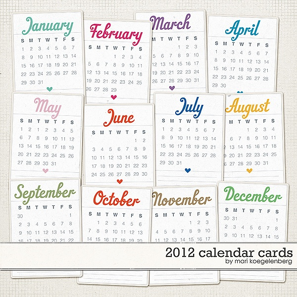 2012 Project Life 3x4 Cards Calendar Freebies