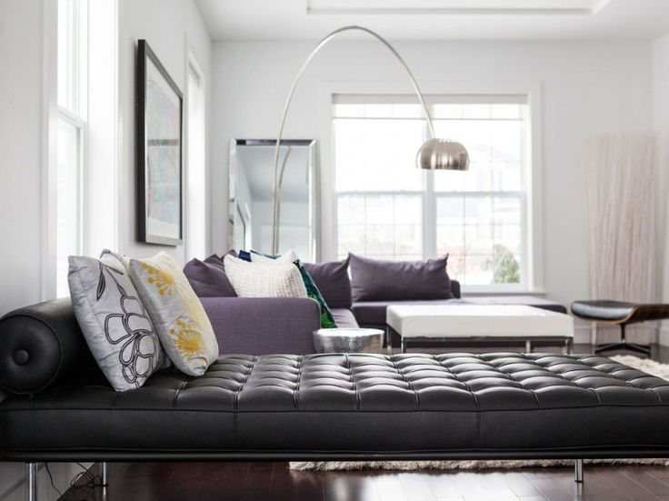 Living Room, Charming Living Room With Astonishing Black Sofa Bed Interesting Colorful Cushion Comfortable Purple Lounge Intriguing Arch Lam...