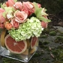 Fresh Peach and Mint Arrangement - Roses, Orchids, Hydrangea and Pink Grapefruit - by Royal Bloom