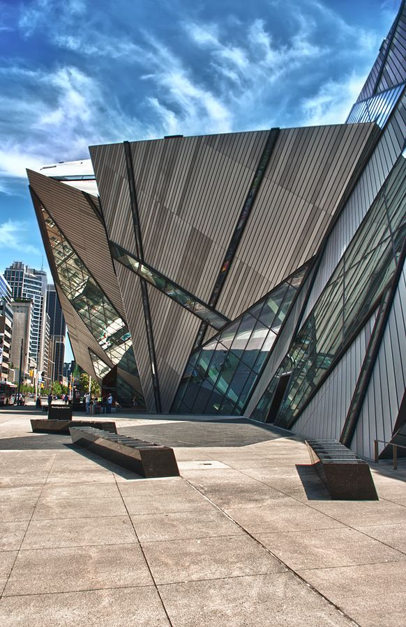 Intensely modern architecture at the entrance of the Royal Ontario Museum, Toronto, Canada