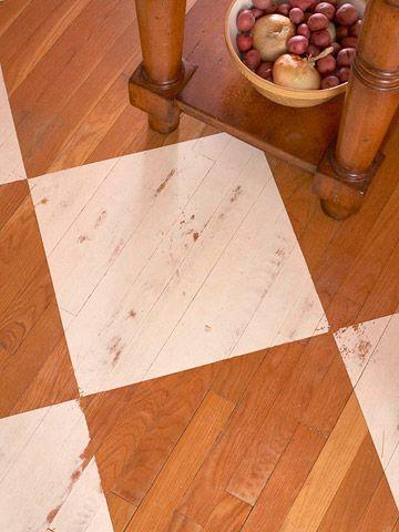 Painted checkerboard pattern ... love the worn look: Floors Patterns, Kitchens Design, Paintings Wood Floors, Kitchens Updates, Interiors Design Kitchens, Paintings Old Hardwood Floors, Hardwood Floors Paintings, Diy Kitchens Floors Ideas, Paintings Floors