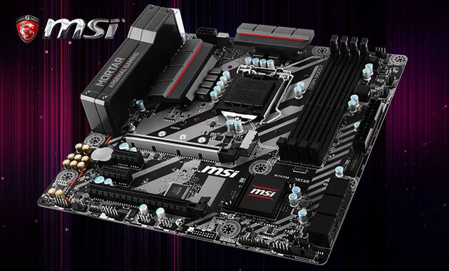Motherboard MSI B250M MORTAR Comes with four DDR2 DIMM, two PCI Express slots, and 6-SATA connectors