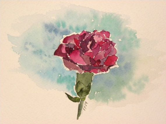 Pink Dianthus. Watercolor by EarlyMorningWalk on Etsy