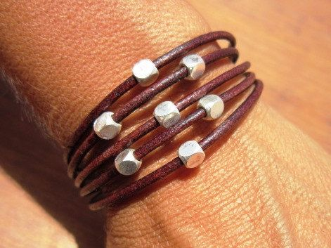 brown leather bracelet with silver beads womens leather by kekugi