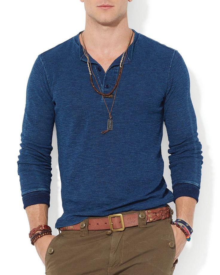 Men's Blue Polo Textured Cotton Henley. Ralph Lauren ...