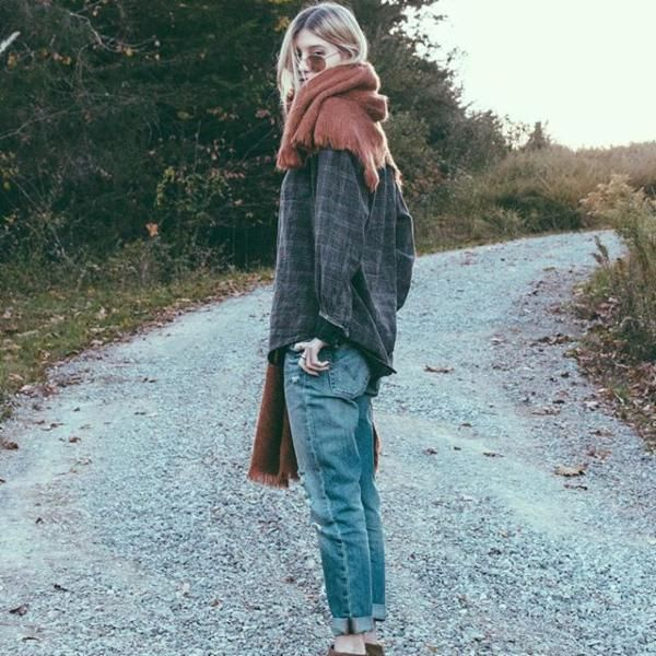 Baggy jeans, long sleeve t, baggy shirt, desert boots, scarf                                                                                                                                                                                 More