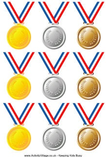 gold, silver, & bronze awards plus several Olympics writing activities