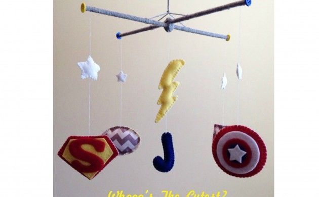 BabyZone: 18 Ideas for a Comic Book-Themed Nursery | Superhero Crib Mobile