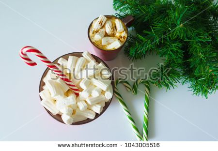 Christmas background, greeting card with a Cup of coffee or hot chocolate with marshmallows, a red plate, candy canes and tree branches. Holiday photo. The mood of the expectations of celebration
