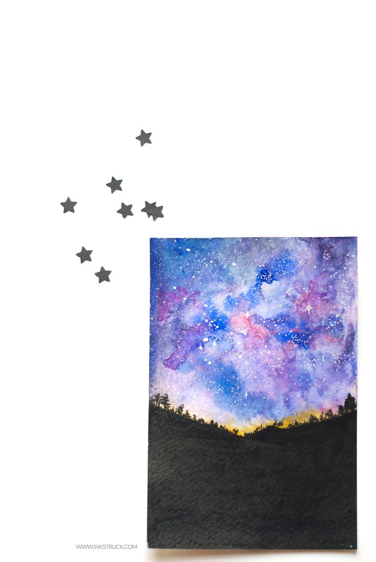Starry night tutorial in watercolor watercolor for Watercolor tutorials step by step