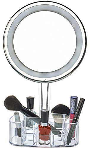 daisi Magnifying Lighted Makeup Mirror with Cosmetic Organizer Base | 7X Magnification, LED Lighted Free Standing Bathroom Mirror for Vanity, Desk or Tabletop. For product & price info go to:  https://beautyworld.today/products/daisi-magnifying-lighted-makeup-mirror-with-cosmetic-organizer-base-7x-magnification-led-lighted-free-standing-bathroom-mirror-for-vanity-desk-or-tabletop/ #makeuporganizertray