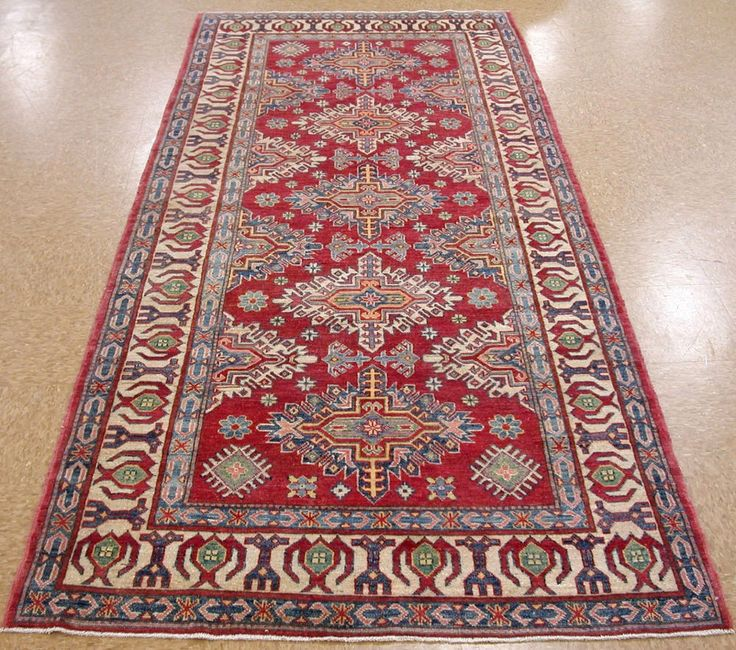4 2  x 9 11  KAZAK SHIRVAN Hand Knotted Wool REDS BLUES New Oriental Rug RUNNER