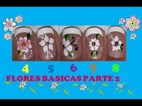 ♥Flores Básicas para uñas Parte 2♥/Flores FÁCILES/ basic flowers for nails - YouTube