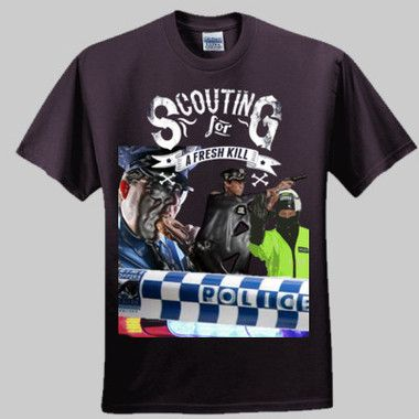 Scouting For A Fresh Kill Men's T-Shirt Trigger Happy Aussie Police are always scouting for a fresh kill  $A43.95 Sizes: S-5XL/Printed Front & Back Round Neck or V Neck  http://www.wildsteel.com.au/scouting-for-a-fresh-kill/