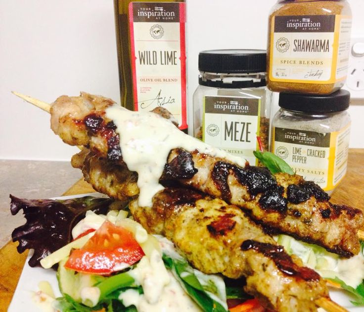 Another quick and easy meal tonight guys... Very warm Brisbane night, so NO slaving over the stove top... YIAH Shawarma Souvlaki with a simple salad and a YIAH Meze Dressing  These products and lots more are available @ www.kylieelms.yourinspirationathome.com.au