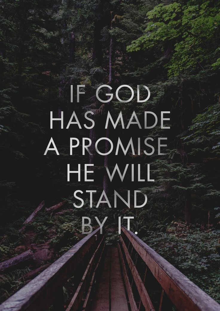 """If God has made a promise, He WILL stand by it."" 