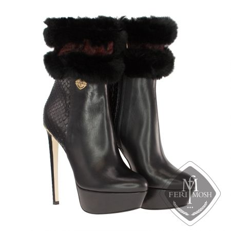 FERI MOSH - Chiara - Boots  Price                                  $2,936 Canadian Dollars Product #                           FMLS-5317 Product Category              FERI MOSH Opulence Wear - Black genuine python and nappa leather platform ankle boots - Made with a combination of nappa leather and python exterior with nappa leather lining - Genuine mink fur trim in 2 colours - Real leather sole - Gold metal trim along heel line - Metal plate with FERI MOSH logo on outer side of both shoes…