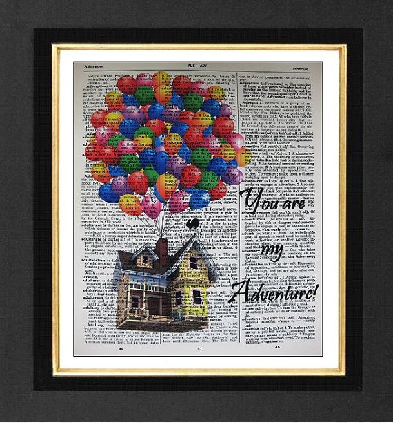 You Are My Adventure-ORIGINAL ARTWORK Mixed Media 8x10 Vintage Dictionary page, Dictionary art, Dictionary print on Etsy, $10.00