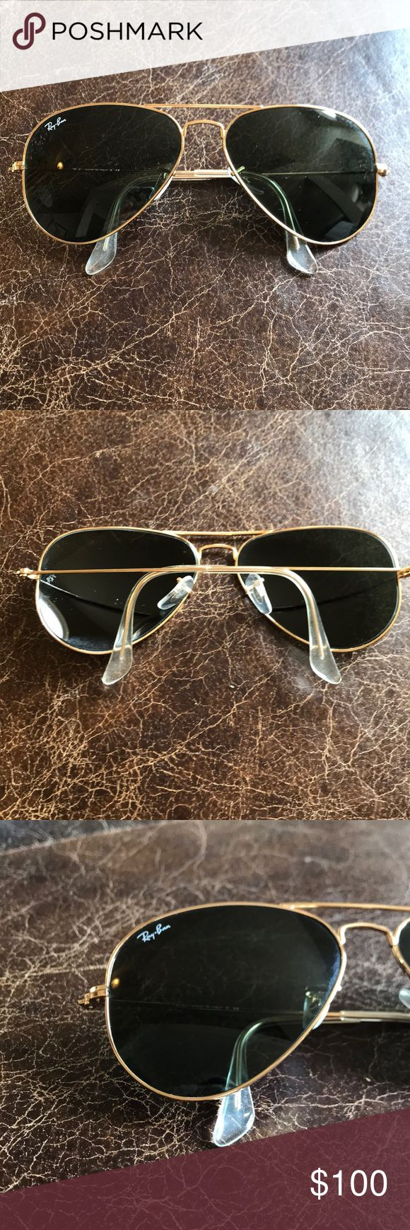 Ray Bans Original Aviator- perfect condition Ray Bans worn 2-3 times. Given as a gift. No scratches on frames. Excellent condition  Left arm reads: RB 3025 Aviator Large Metal L0205 58D14 3N Right arm reads: Made in Italy Ray-Ban Accessories Sunglasses
