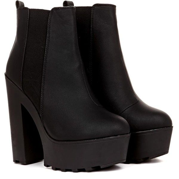 Rena Matt PU Heeled Chunky Ankle Boot in Black found on Polyvore featuring polyvore, women's fashion, shoes, boots, ankle booties, heels, clothing, botas, black and black ankle booties