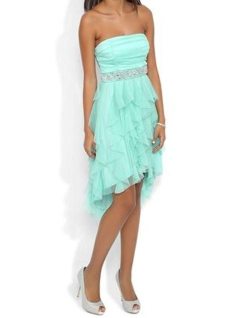 Pretty teal hi-lo dress!