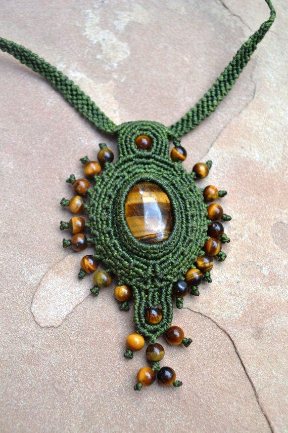 Green Goddess Macrame Necklace/ Macrame Jewelry/ by SpiritYSol, $76.00