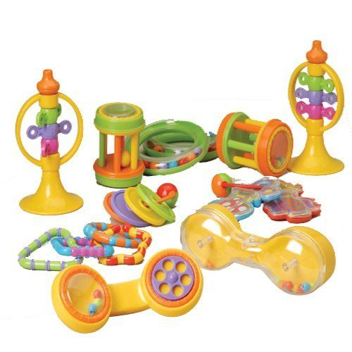 """Classroom Infant Playset by ConstructivePlaythings. $34.99. A collection of rattles, rings, phones, and more in this infant playset. Made of durable plastic. Telephone is 6"""" H. 20 pc. Set. All ages."""