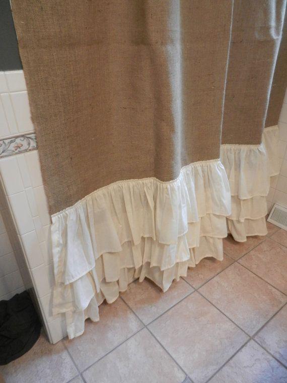 Burlap and Muslin Ruffled Shower Curtain.