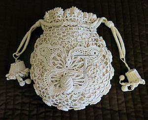Irish crochet opera bag