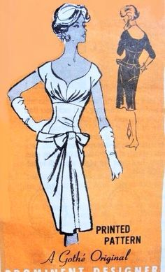 STUNNING late 50s GOTHE Original Draped Sheath Cocktail Evening Party Dress Pattern PROMINENT DESIGNER M140 Sizzling Hot Design Bust 34 Vintage Sewing Pattern UNCUT