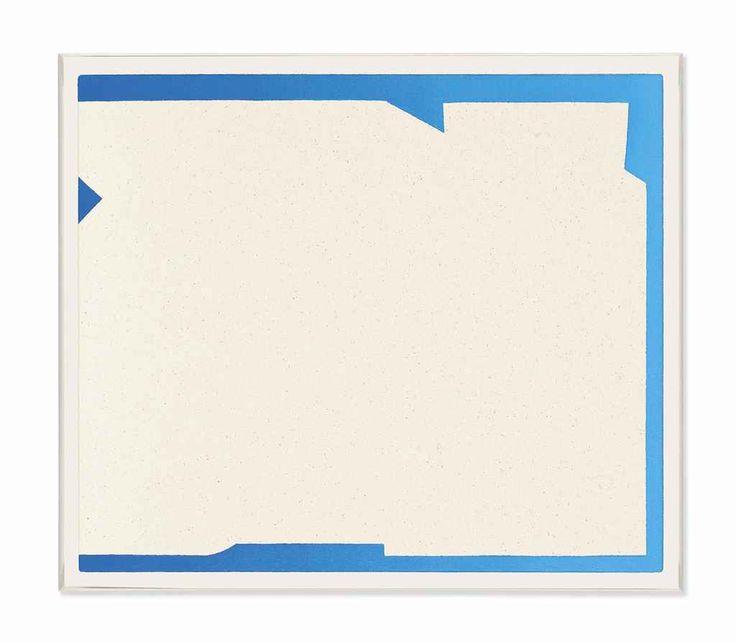 "Felix Baudenbacher [Switzerland / UK] (b 1977) ~ ""Gradient Edges Blue"", 2014. Oil and gesso on canvas, in artist's frame (39 x 45 cm). | #art #painting #abstract #hard_edge #minimal_art"