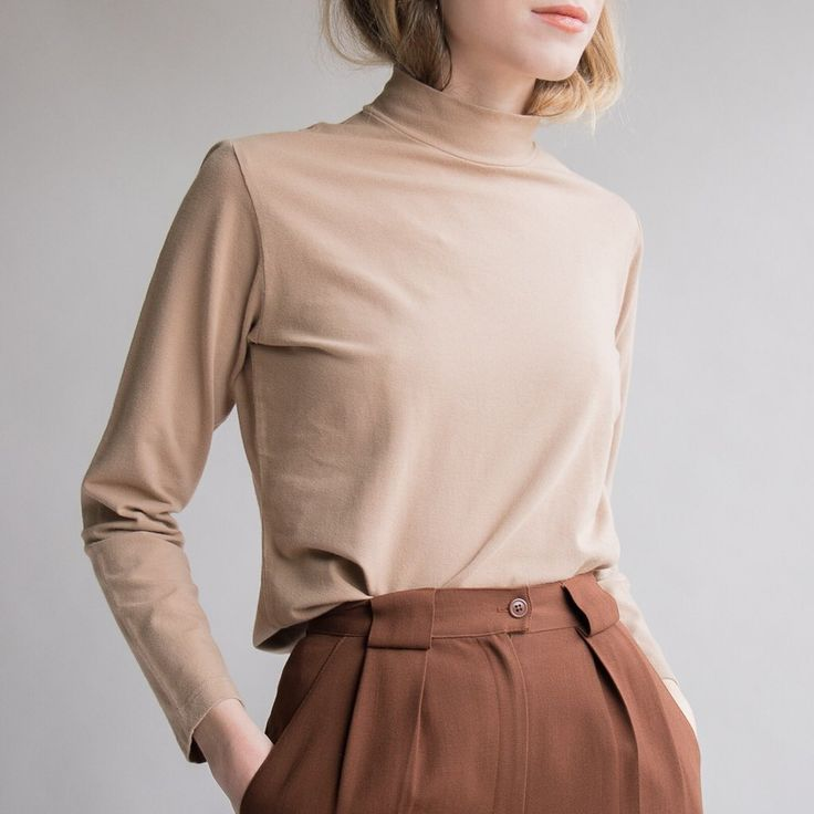 Vintage nude cotton turtleneck / fits size S / $28 + shipping / Please comment with zip code or country to reserve