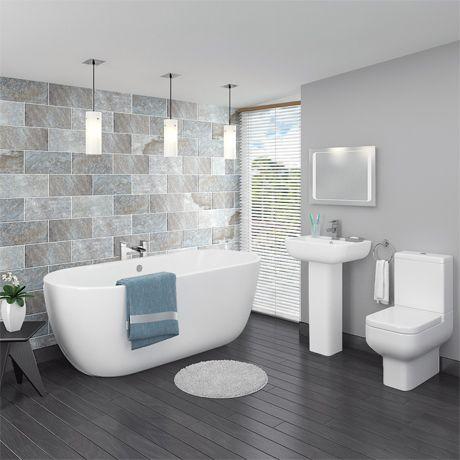 83 best grey bathrooms images on pinterest bathroom for Grey bathroom suite ideas