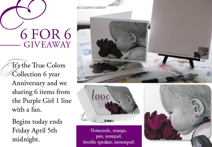 The True Colors Collection celebrated its 6th Anniversary this March. We are sharing items from the Purple Girl 1 with our fans. The True Colors Collection is feature color that matches the emotion of each child. Leave a comment below letting us know what colors inspire you the most. Let your true colors shine through. Winner will be chosen randomly. Giveaway ends Friday, April 5th at midnight.