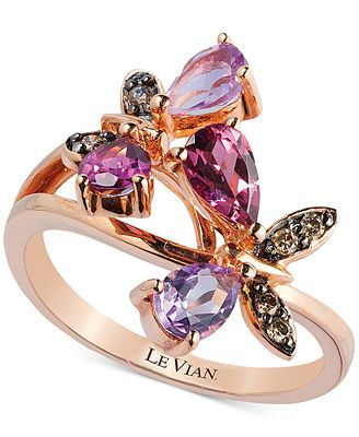 Le Vian Multi-Stone and Diamond Accent Butterfly Ring in 14k Rose Gold (1-1/6 ct. t.w.)