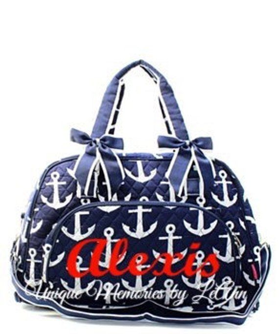 2d717f8df639 Anchor duffle bag quilted w/detachable bows FREE Monogram/Name ...