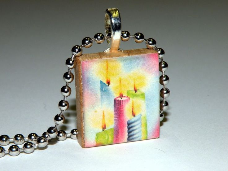 NEW! Five Vintage Pastel Christmas Candles Scrabble Tile Necklace By HArtworks  #Hartworks #Chain